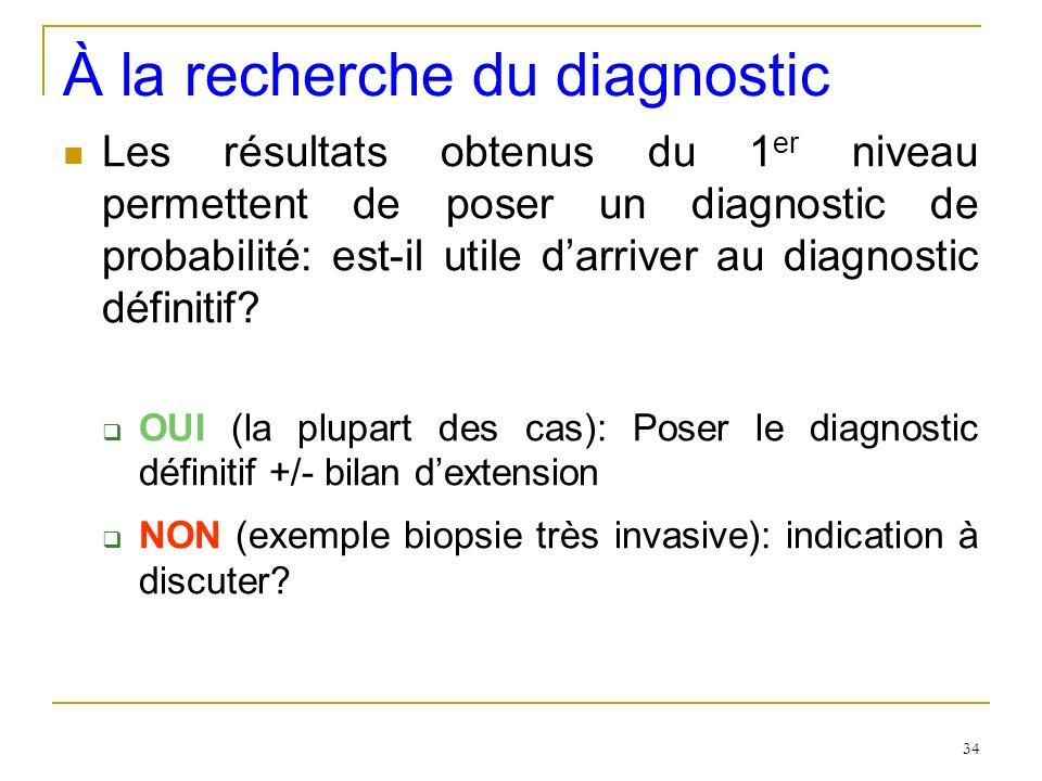 À la recherche du diagnostic Les résultats obtenus du 1 er niveau permettent de poser un diagnostic de probabilité: est-il utile darriver au diagnosti