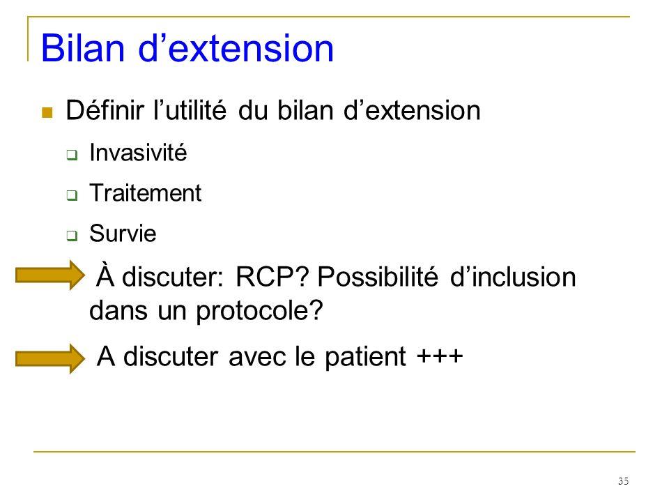 Bilan dextension Définir lutilité du bilan dextension Invasivité Traitement Survie À discuter: RCP? Possibilité dinclusion dans un protocole? A discut