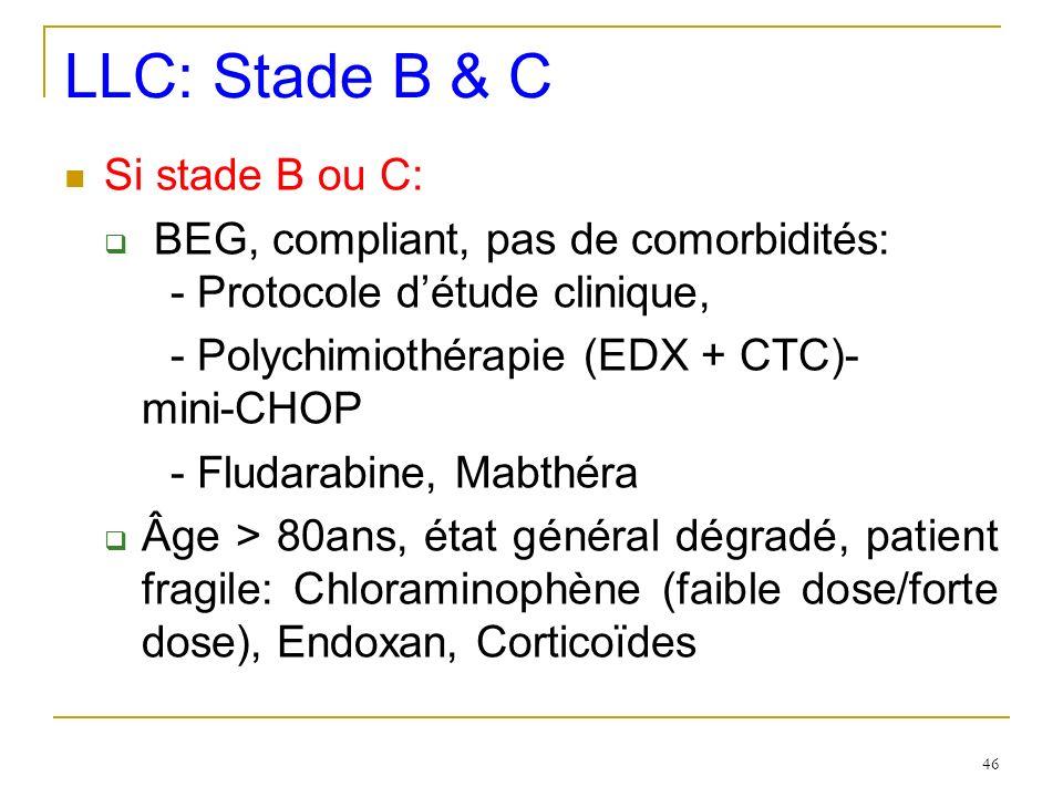 LLC: Stade B & C Si stade B ou C: BEG, compliant, pas de comorbidités: - Protocole détude clinique, - Polychimiothérapie (EDX + CTC)- mini-CHOP - Flud