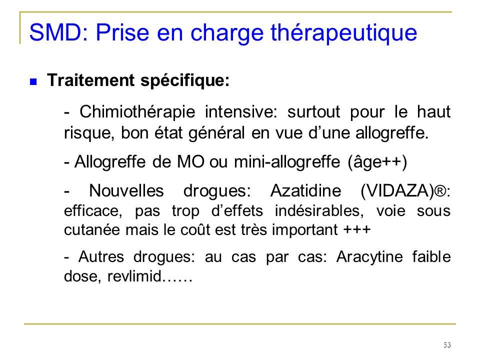 SMD: Prise en charge thérapeutique Traitement spécifique: - Chimiothérapie intensive: surtout pour le haut risque, bon état général en vue dune allogr