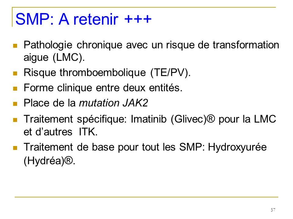 57 SMP: A retenir +++ Pathologie chronique avec un risque de transformation aigue (LMC). Risque thromboembolique (TE/PV). Forme clinique entre deux en