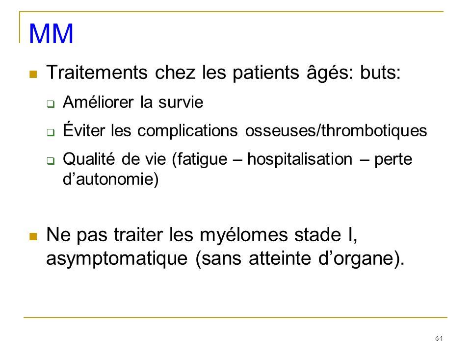 MM Traitements chez les patients âgés: buts: Améliorer la survie Éviter les complications osseuses/thrombotiques Qualité de vie (fatigue – hospitalisa