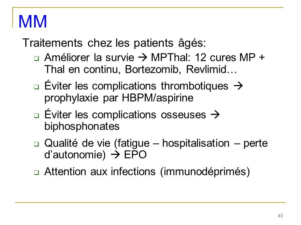 Traitements chez les patients âgés: Améliorer la survie MPThal: 12 cures MP + Thal en continu, Bortezomib, Revlimid… Éviter les complications thrombot