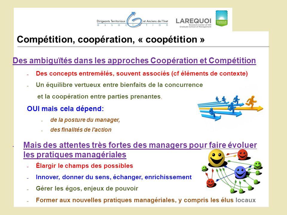 Compétition, coopération, « coopétition » Des ambiguïtés dans les approches Coopération et Compétition – Des concepts entremêlés, souvent associés (cf