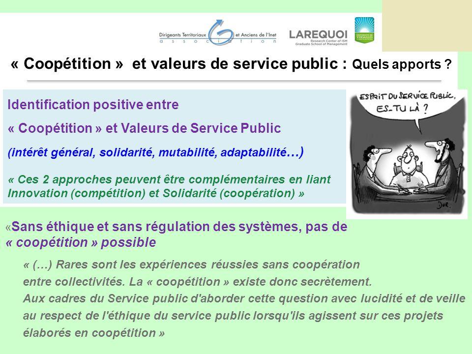 « Sans éthique et sans régulation des systèmes, pas de « coopétition » possible « (…) Rares sont les expériences réussies sans coopération entre collectivités.
