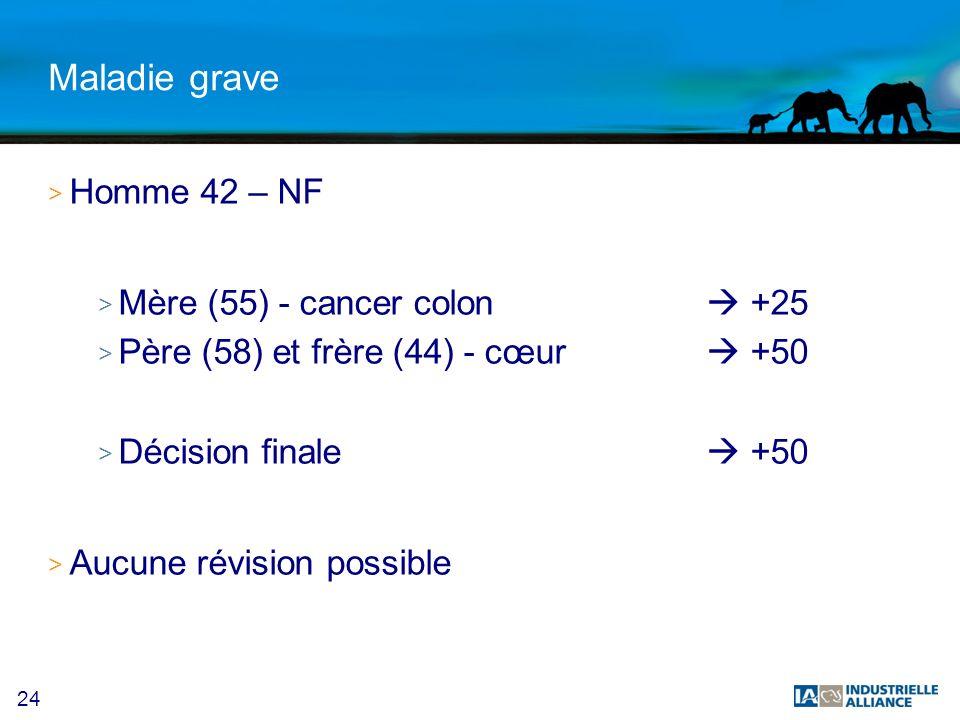 24 Maladie grave > Homme 42 – NF > Mère (55) - cancer colon +25 > Père (58) et frère (44) - cœur +50 > Décision finale +50 > Aucune révision possible