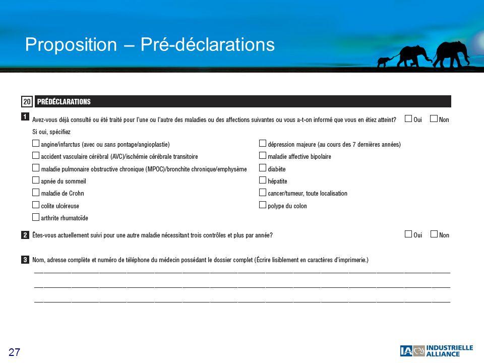 27 Proposition – Pré-déclarations X