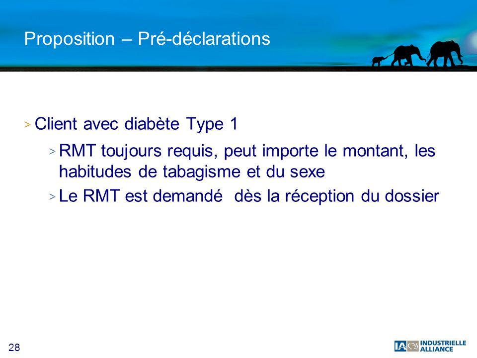28 Proposition – Pré-déclarations > Client avec diabète Type 1 > RMT toujours requis, peut importe le montant, les habitudes de tabagisme et du sexe > Le RMT est demandé dès la réception du dossier