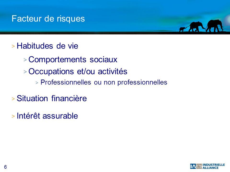 6 Facteur de risques > Habitudes de vie > Comportements sociaux > Occupations et/ou activités > Professionnelles ou non professionnelles > Situation financière > Intérêt assurable