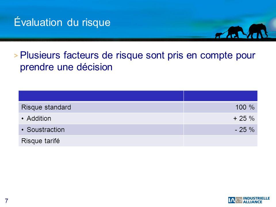 7 Évaluation du risque > Plusieurs facteurs de risque sont pris en compte pour prendre une décision Risque standard100 % Addition+ 25 % Soustraction- 25 % Risque tarifé