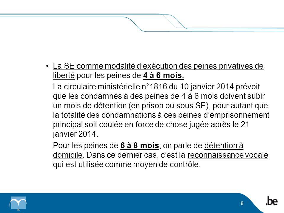 La SE comme modalité dexécution des peines privatives de liberté pour les peines de 4 à 6 mois. La circulaire ministérielle n°1816 du 10 janvier 2014