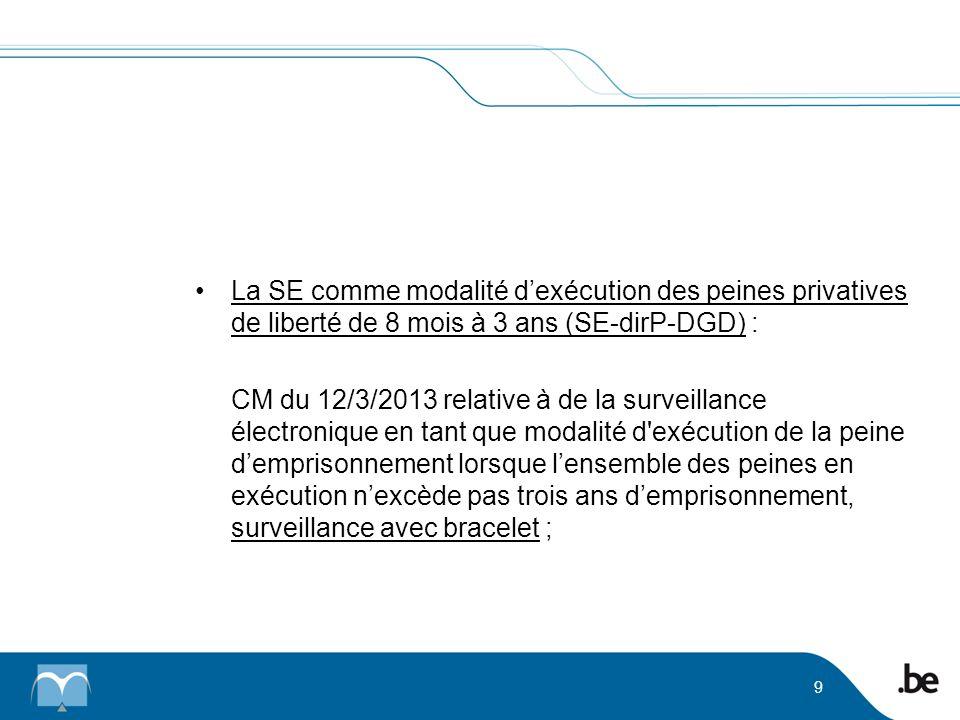La SE comme modalité dexécution des peines privatives de liberté de 8 mois à 3 ans (SE-dirP-DGD) : CM du 12/3/2013 relative à de la surveillance élect
