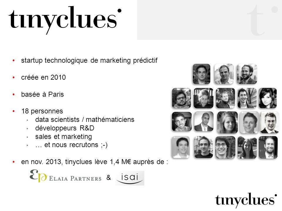 startup technologique de marketing prédictif créée en 2010 basée à Paris 18 personnes data scientists / mathématiciens développeurs R&D sales et marke