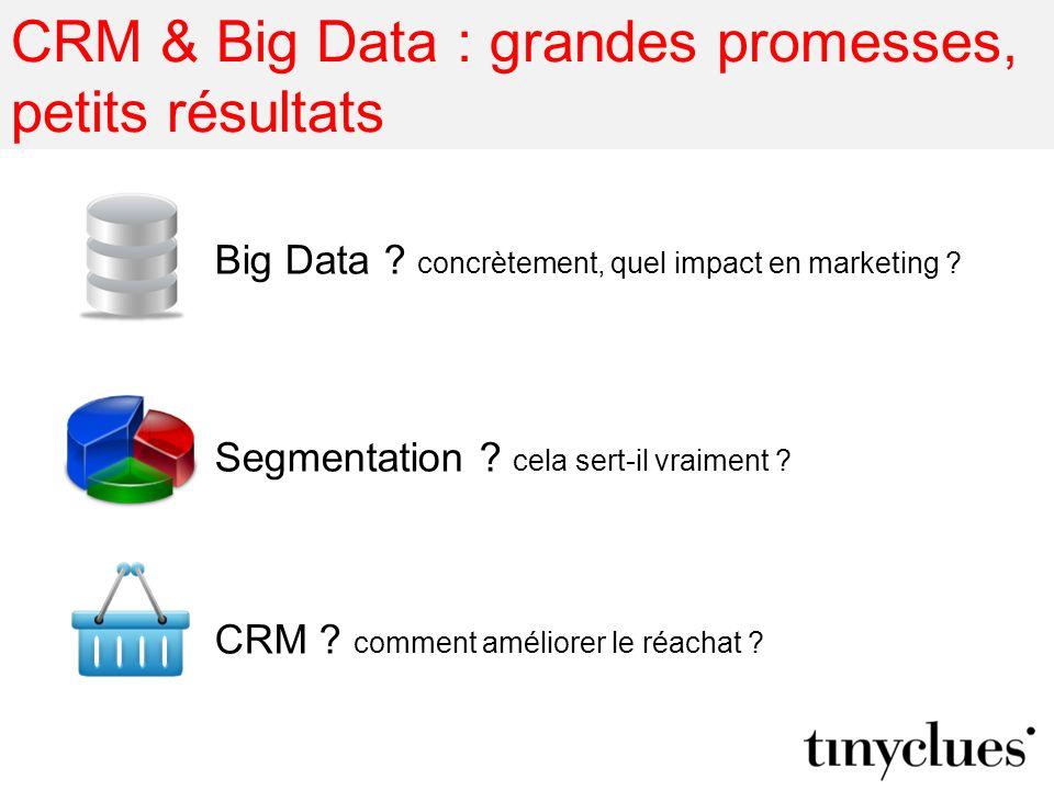 CRM & Big Data : grandes promesses, petits résultats Big Data ? concrètement, quel impact en marketing ? Segmentation ? cela sert-il vraiment ? CRM ?