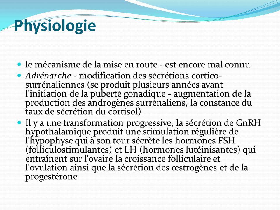Physiologie le mécanisme de la mise en route - est encore mal connu Adrénarche - modification des sécrétions cortico- surrénaliennes (se produit plusi