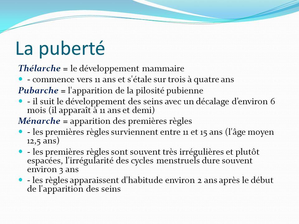 La puberté Thélarche = le développement mammaire - commence vers 11 ans et s'étale sur trois à quatre ans Pubarche = l'apparition de la pilosité pubie