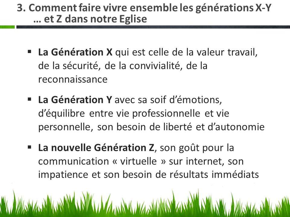 3. Comment faire vivre ensemble les générations X-Y … et Z dans notre Eglise La Génération X qui est celle de la valeur travail, de la sécurité, de la