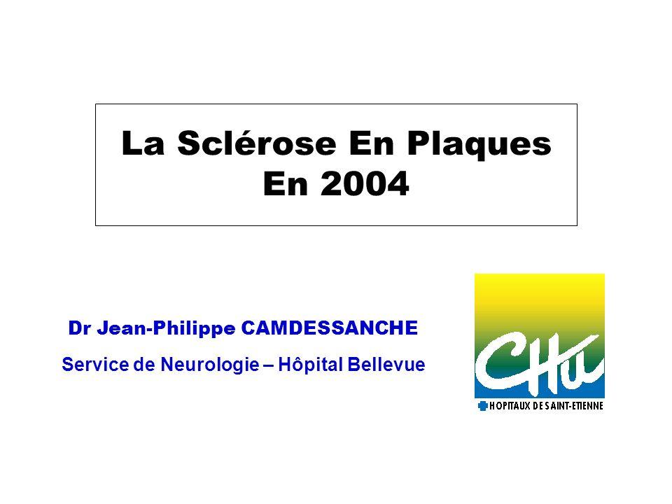 Données générales sur la SEP Maladie inflammatoire du système nerveux central (cerveau/moelle/nerf optique) Plus fréquente chez la femme : 3 femmes / 2 hommes Maladie de ladulte jeune : 2/3 des cas entre 20 et 40 ans 40 à 60/100000 habitants soit 40000 patients en France 1 ère cause de handicap neurologique du sujet jeune