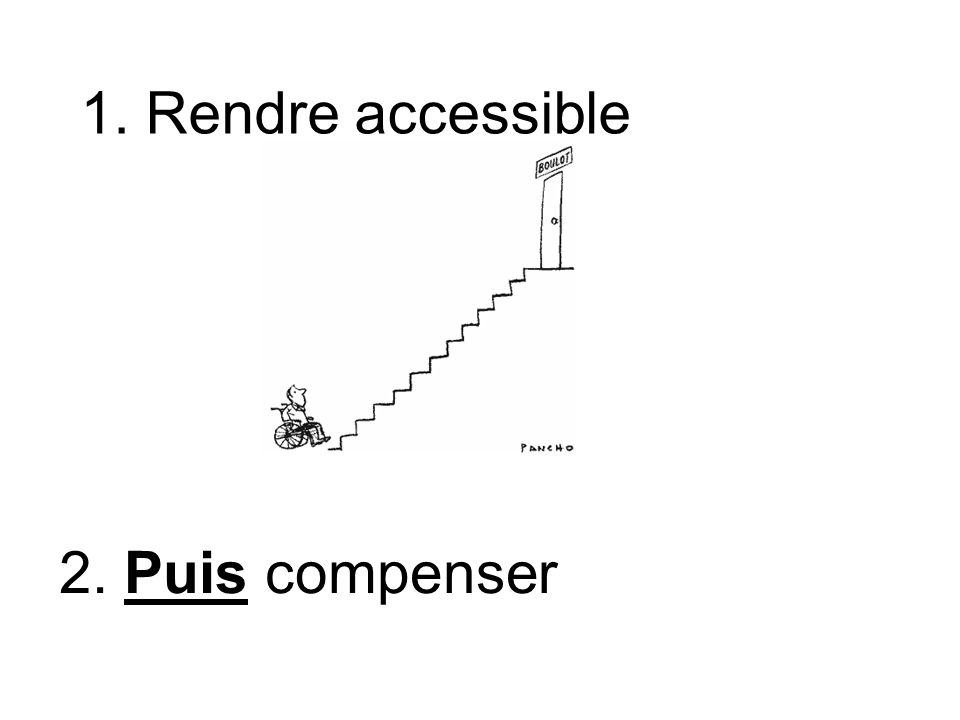2. Puis compenser 1. Rendre accessible