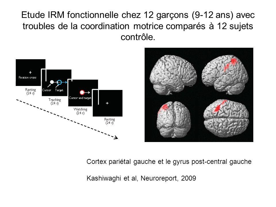 Etude IRM fonctionnelle chez 12 garçons (9-12 ans) avec troubles de la coordination motrice comparés à 12 sujets contrôle. Cortex pariétal gauche et l