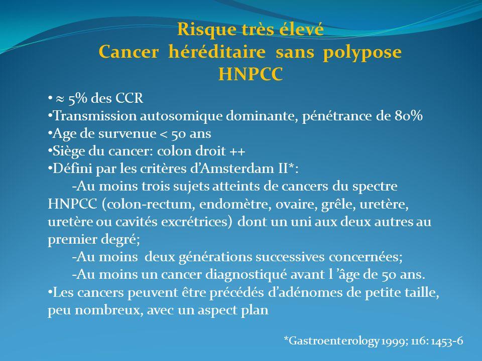 5% des CCR Transmission autosomique dominante, pénétrance de 80% Age de survenue < 50 ans Siège du cancer: colon droit ++ Défini par les critères dAms
