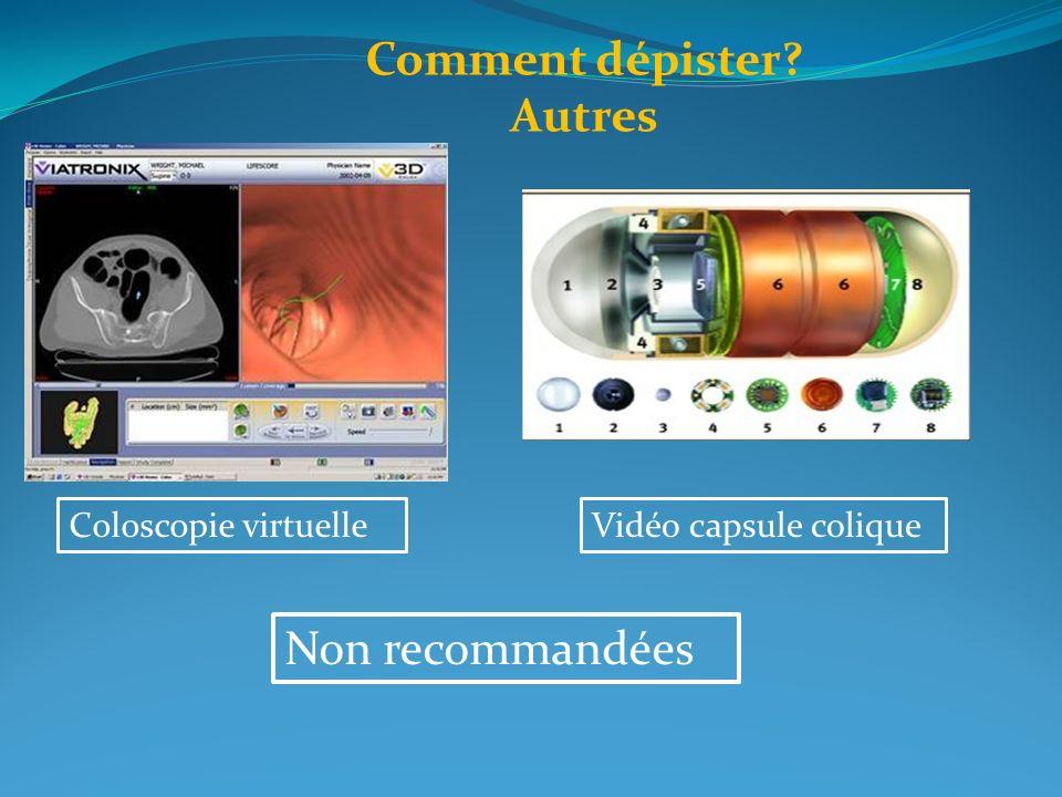 Comment dépister? Autres Coloscopie virtuelleVidéo capsule colique Non recommandées