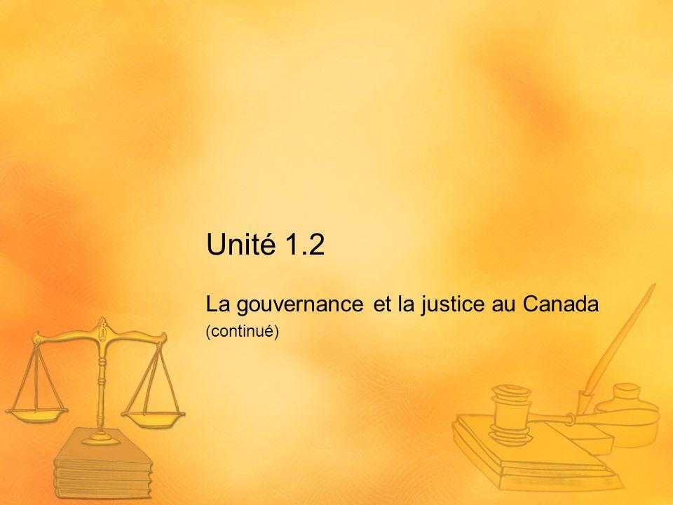Unité 1.2 La gouvernance et la justice au Canada (continué)