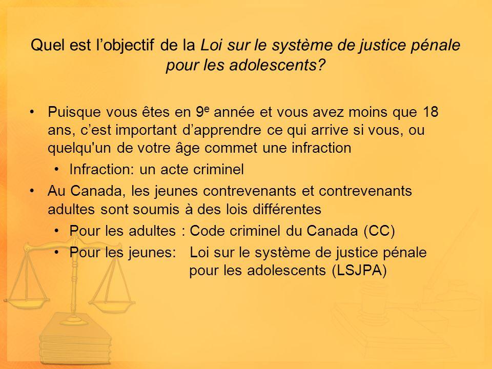 Quel est lobjectif de la Loi sur le système de justice pénale pour les adolescents? Puisque vous êtes en 9 e année et vous avez moins que 18 ans, cest