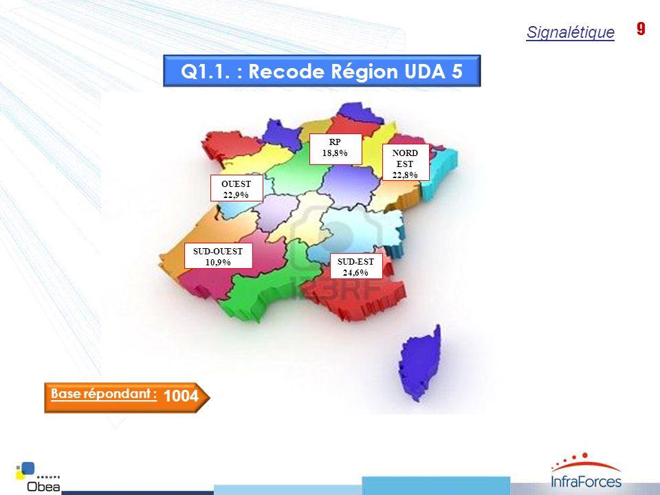 9 NORD EST 22,8% SUD-EST 24,6% SUD-OUEST 10,9% OUEST 22,9% RP 18,8% Base répondant : 1004 Q1.1.