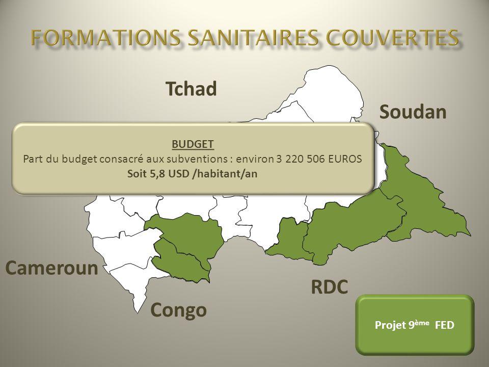 Tchad Soudan RDC Congo Cameroun Projet 9 ème FED BUDGET Part du budget consacré aux subventions : environ 3 220 506 EUROS Soit 5,8 USD /habitant/an BU