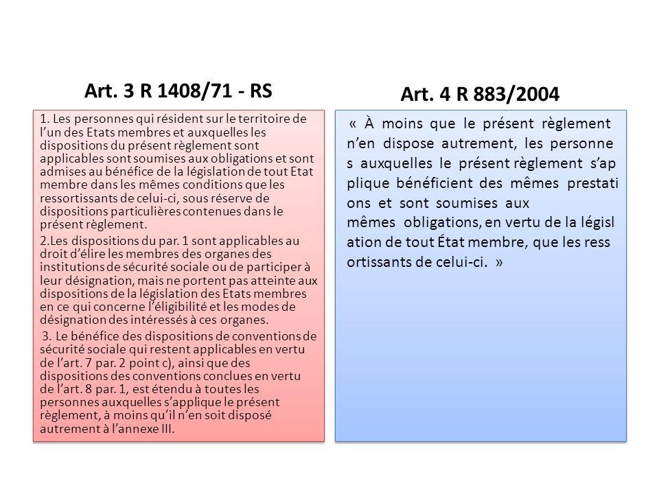 Art. 3 R 1408/71 - RS 1.