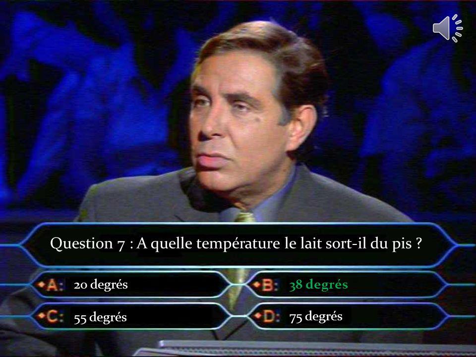 Question 7 : A quelle température le lait sort-il du pis ? 20 degrés 55 degrés 38 degrés 75 degrés