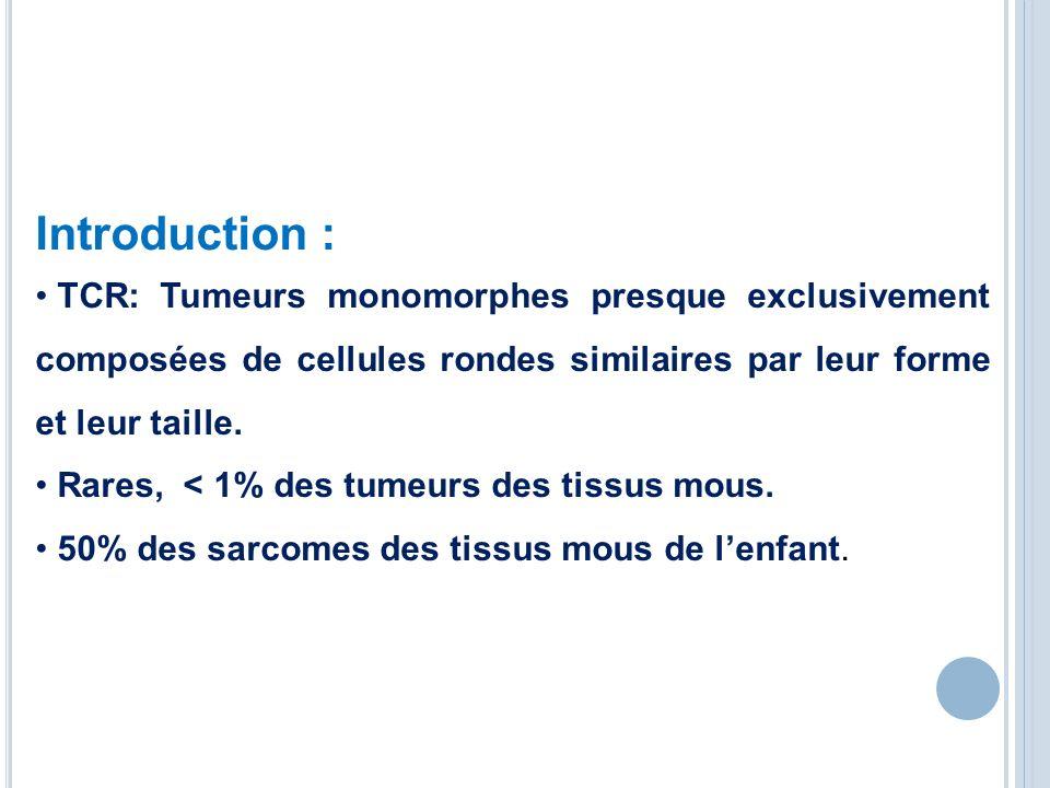 Introduction : TCR: Tumeurs monomorphes presque exclusivement composées de cellules rondes similaires par leur forme et leur taille. Rares, < 1% des t