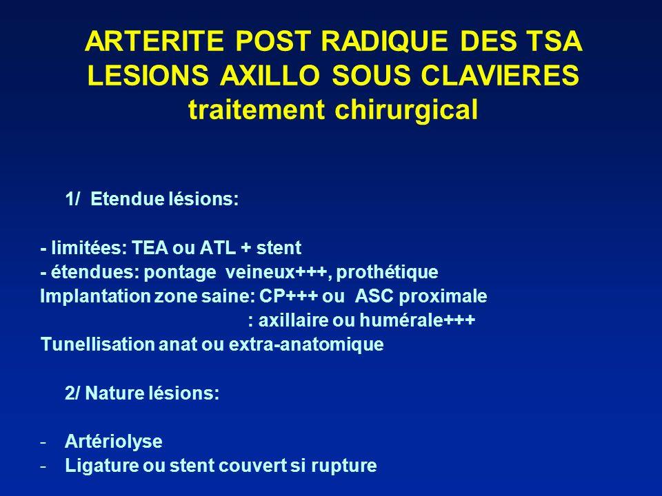 ARTERITE POST RADIQUE DES TSA LESIONS AXILLO SOUS CLAVIERES traitement chirurgical 1/ Etendue lésions: - limitées: TEA ou ATL + stent - étendues: pont