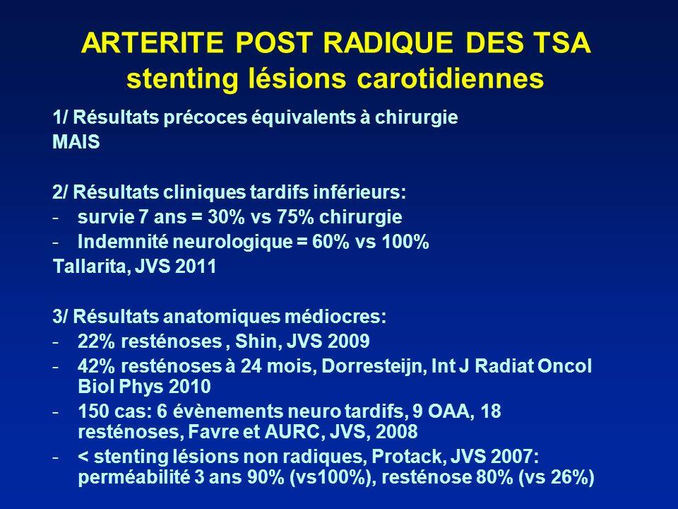 ARTERITE POST RADIQUE DES TSA stenting lésions carotidiennes 1/ Résultats précoces équivalents à chirurgie MAIS 2/ Résultats cliniques tardifs inférie