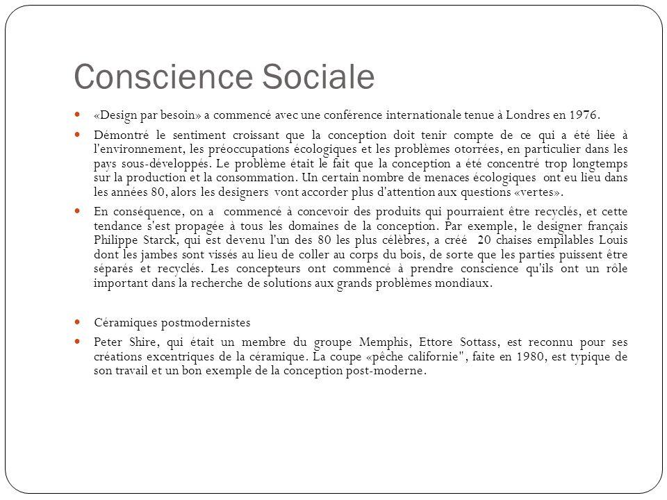 Conscience Sociale «Design par besoin» a commencé avec une conférence internationale tenue à Londres en 1976. Démontré le sentiment croissant que la c