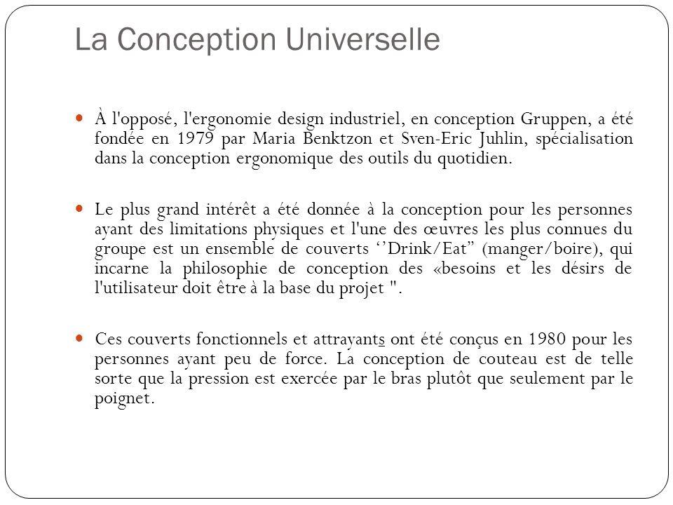 La Conception Universelle À l'opposé, l'ergonomie design industriel, en conception Gruppen, a été fondée en 1979 par Maria Benktzon et Sven-Eric Juhli