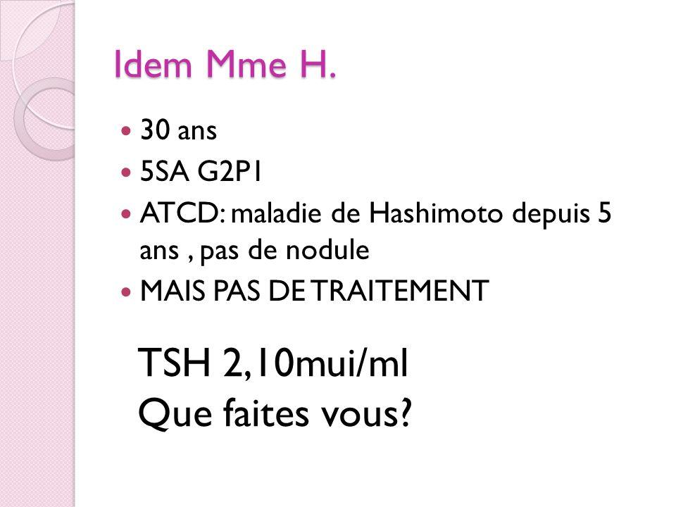 Idem Mme H. 30 ans 5SA G2P1 ATCD: maladie de Hashimoto depuis 5 ans, pas de nodule MAIS PAS DE TRAITEMENT TSH 2,10mui/ml Que faites vous?
