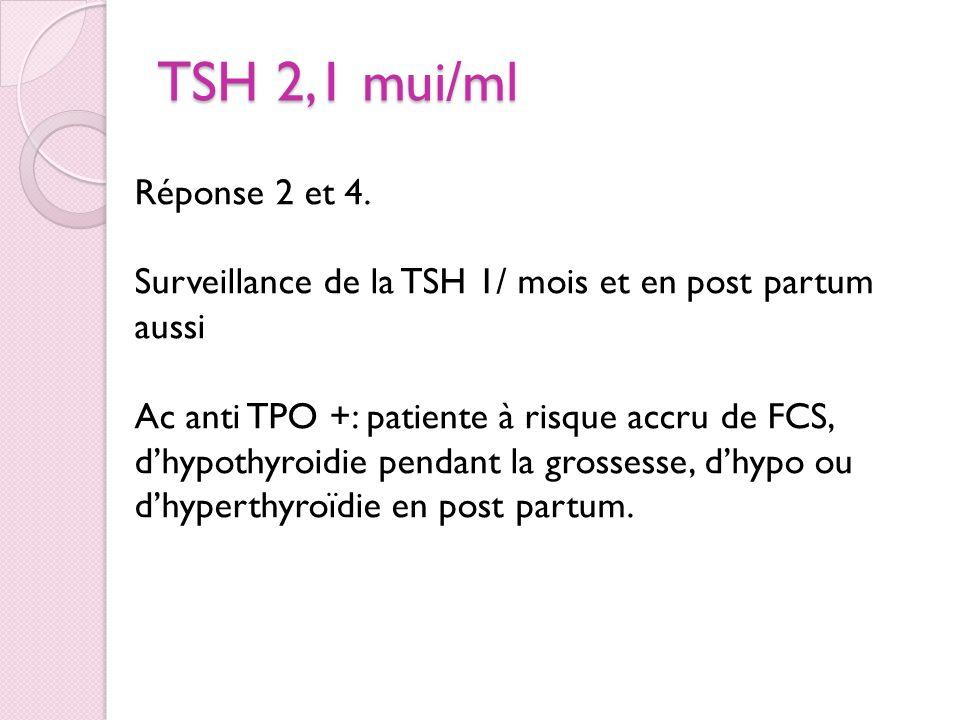TSH 2,1 mui/ml 1. Rien 2. Surveillance TSH 1/ mois et après la grossesse 3. Introduction du Levothyrox 4. Avis endoc Réponse 2 et 4. Surveillance de l