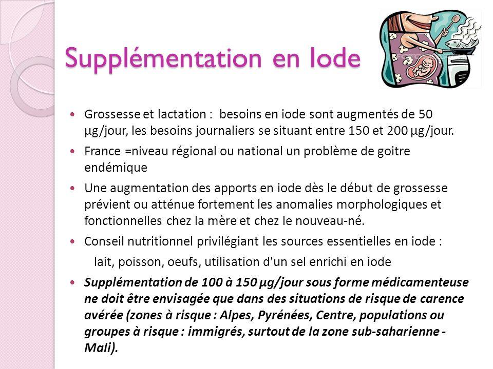 Supplémentation en Iode Grossesse et lactation : besoins en iode sont augmentés de 50 µg/jour, les besoins journaliers se situant entre 150 et 200 µg/