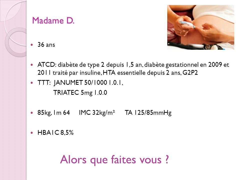Madame D. 36 ans ATCD: diabète de type 2 depuis 1,5 an, diabète gestationnel en 2009 et 2011 traité par insuline, HTA essentielle depuis 2 ans, G2P2 T