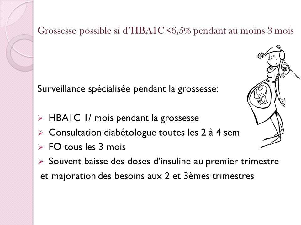 Grossesse possible si dHBA1C <6,5% pendant au moins 3 mois Surveillance spécialisée pendant la grossesse: HBA1C 1/ mois pendant la grossesse Consultat