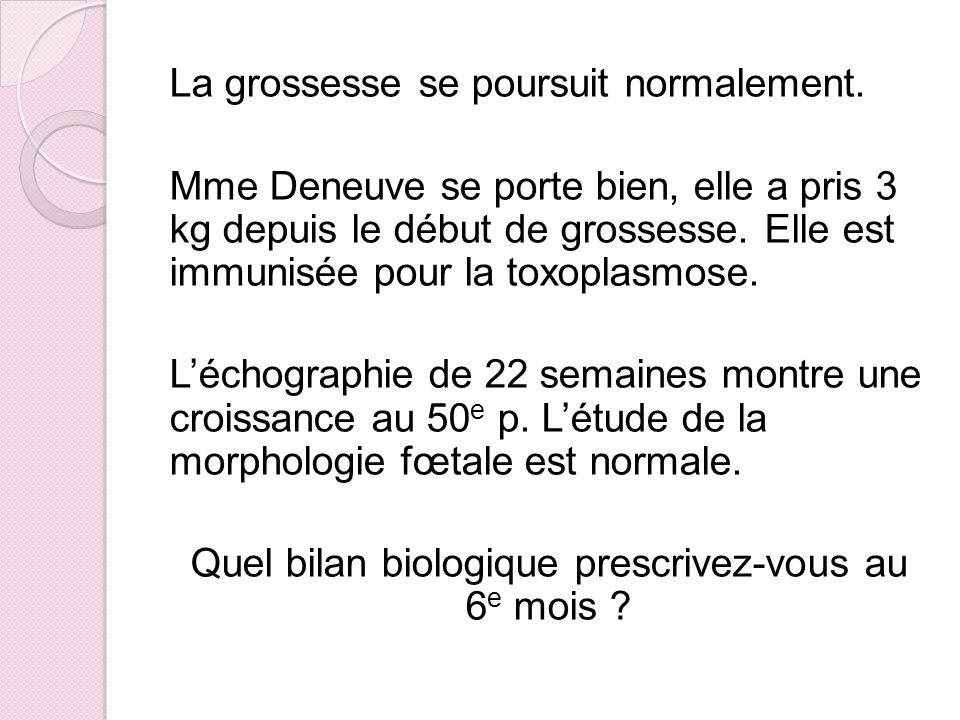 La grossesse se poursuit normalement. Mme Deneuve se porte bien, elle a pris 3 kg depuis le début de grossesse. Elle est immunisée pour la toxoplasmos