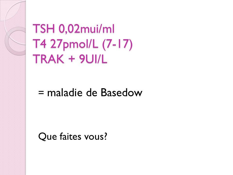 TSH 0,02mui/ml T4 27pmol/L (7-17) TRAK + 9UI/L = maladie de Basedow Que faites vous?
