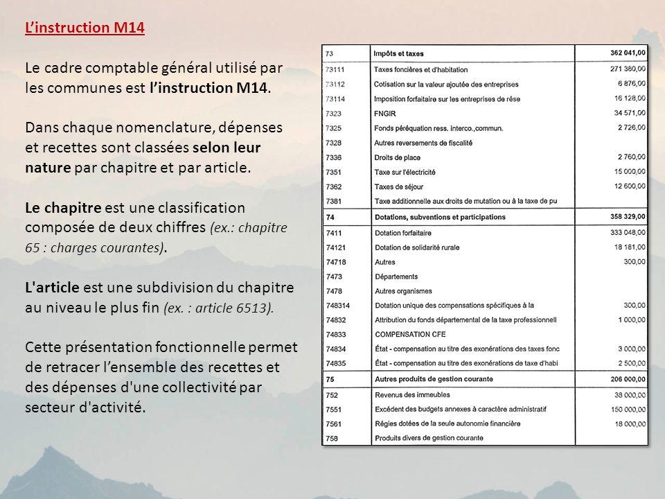 Linstruction M14 Le cadre comptable général utilisé par les communes est linstruction M14.