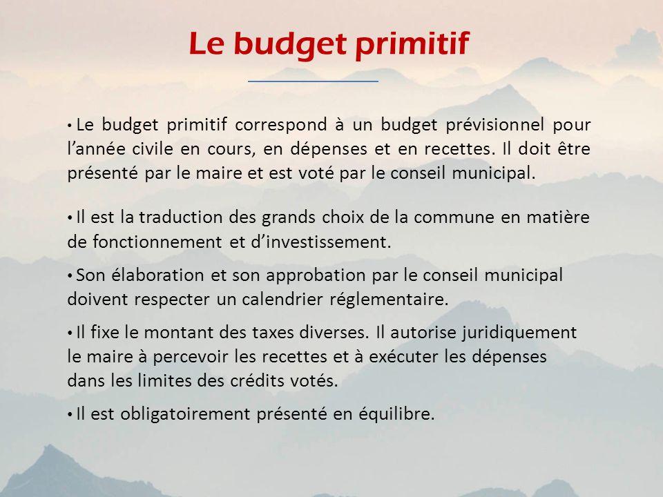 Le budget primitif Le budget primitif correspond à un budget prévisionnel pour lannée civile en cours, en dépenses et en recettes. Il doit être présen