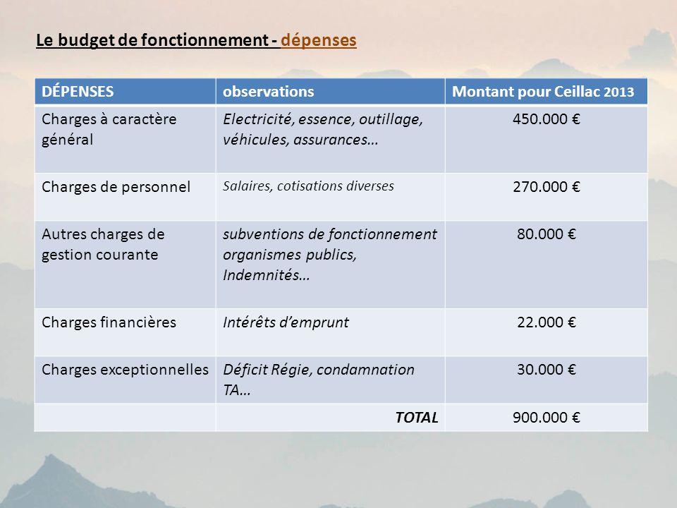 Le budget de fonctionnement - dépenses DÉPENSESobservationsMontant pour Ceillac 2013 Charges à caractère général Electricité, essence, outillage, véhi