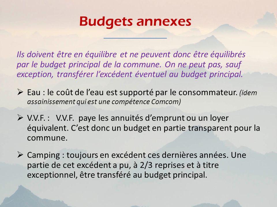 Budgets annexes Ils doivent être en équilibre et ne peuvent donc être équilibrés par le budget principal de la commune. On ne peut pas, sauf exception