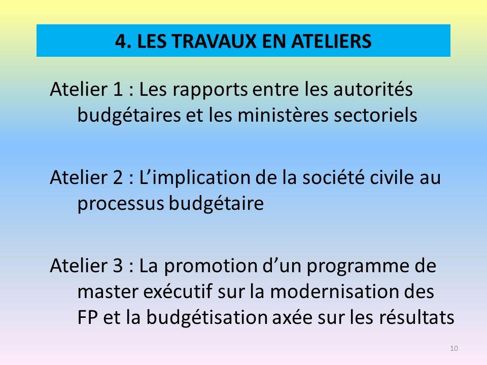 4. LES TRAVAUX EN ATELIERS Atelier 1 : Les rapports entre les autorités budgétaires et les ministères sectoriels Atelier 2 : Limplication de la sociét