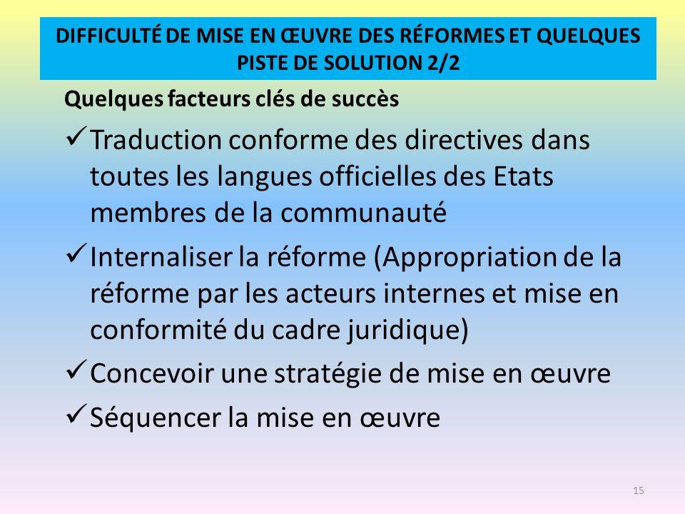 DIFFICULTÉ DE MISE EN ŒUVRE DES RÉFORMES ET QUELQUES PISTE DE SOLUTION 2/2 Quelques facteurs clés de succès Traduction conforme des directives dans to